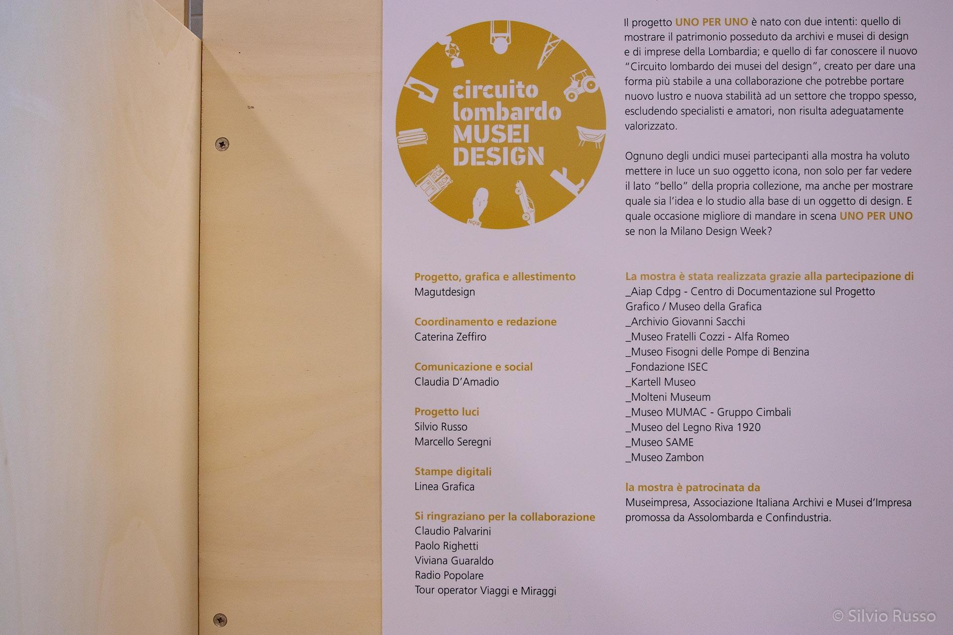 UNO PER UNO mostra Circuito lombardo Musei Design, 16-21 aprile 2018, Spazio MIL, Sesto San Giovanni - Milano Città Metropolitana